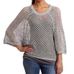 [BCBGMaxAzria] Kara Open Knit Sweater Gray Pearl